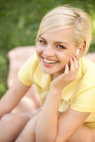 Happy woman in park. Stock Photo