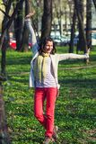 Happy woman in the park Royalty Free Stock Photography