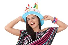 Happy woman in party hat Royalty Free Stock Photo