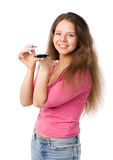 Happy woman with PDA Royalty Free Stock Image