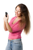 Happy woman with PDA Stock Photo