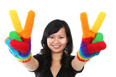 Happy Woman Peace Sign Stock Photography
