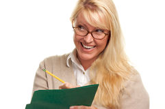 Happy Woman with Pencil and Folder Stock Photo