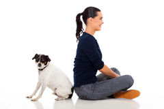 Woman pet dog Stock Images