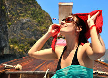 Happy woman on the Phi Phi islands Stock Image