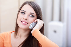 Happy woman on phone Royalty Free Stock Photo