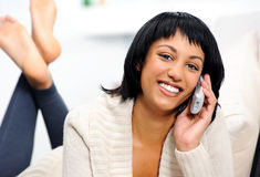 Happy woman with phone Stock Photography