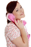Happy woman on the phone. Stock Photos