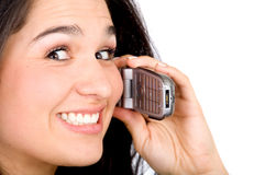 Happy woman on the phone Royalty Free Stock Photos