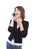 Happy woman with phone Royalty Free Stock Photography