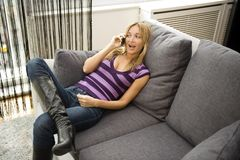 Happy woman on the phone Royalty Free Stock Photo