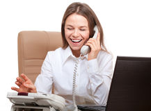 Happy woman phone in the office Royalty Free Stock Photography