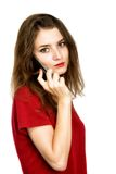 Happy woman phone talking. Face with toothy smile. Isolated over white Royalty Free Stock Photo