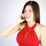 Happy woman on the phone talking isolated Royalty Free Stock Photo
