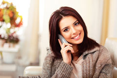 Happy woman on phone Royalty Free Stock Photography
