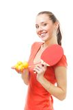 Happy woman ping-pong spot player Stock Photography