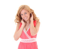 Happy woman in pink dress Stock Photos