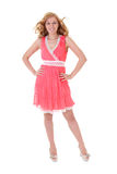 Happy woman in pink dress Stock Photo