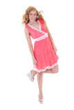 Happy woman in pink dress Stock Image