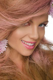 Happy woman with pink hair and flowers Royalty Free Stock Photo