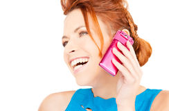 Happy woman with pink phone Stock Photo
