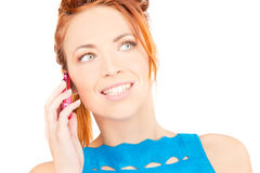 Happy woman with pink phone Stock Photos