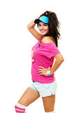 Happy woman in pink smile and have fun Stock Photo