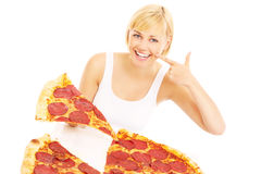 Happy woman with pizza Royalty Free Stock Photos
