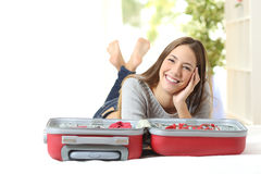 Happy woman planning a travel Royalty Free Stock Images