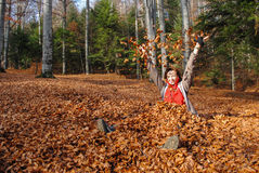 Happy woman playing with autumn leaves Stock Photo