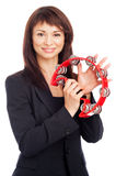 Happy Woman Playing a Tamborine. Royalty Free Stock Photo