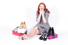 Happy woman pleasantly surprised shopping Stock Photo