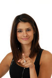 Happy woman pointing Royalty Free Stock Photos