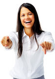 Happy woman pointing Stock Photography