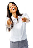 Happy woman pointing Stock Images
