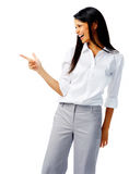 Happy woman pointing Royalty Free Stock Photo