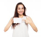 Happy woman pointing at a blank signboard Stock Images