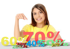 Happy woman pointing on percentage Stock Images