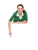 Happy woman pointing at something Royalty Free Stock Photography