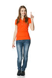 Happy Woman Pointing Up Standing In Full Length Stock Photo