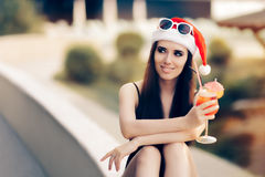 Happy Woman at a Pool Christmas Party Royalty Free Stock Photos