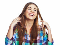 Happy woman portrait. Smiling girl . white backgro Royalty Free Stock Photos