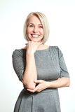 Happy woman portrait. Success. Isolated over white background. Stock Images