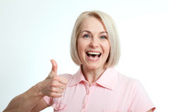 Happy woman portrait. Success. Isolated over white background. Happy woman portrait close up. Success. Isolated over white background royalty free stock photography