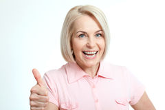 Happy woman portrait. Success. Isolated over white background. Royalty Free Stock Photo
