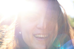 Happy woman portrait in sunny day Royalty Free Stock Photography