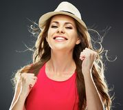 Happy woman portrait. toothy smile royalty free stock photography