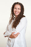 Happy woman portrait on white Royalty Free Stock Image