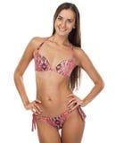 Happy woman posing in a pink bikini Stock Image
