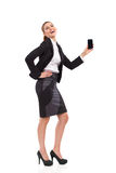 Happy woman posing with smart phone. Stock Image